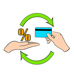 interest on credit card icon cartoon vector image