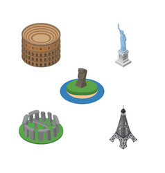 isometric attraction set of paris coliseum chile vector image vector image