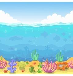 Seamless underwater landscape in cartoon style vector image