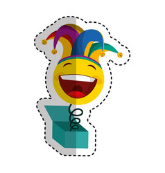 crazy face with harlequin hat isolated icon vector image