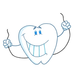 Dental Tooth Character Holding Floss vector image vector image