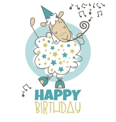 Happy birthday sheep vector