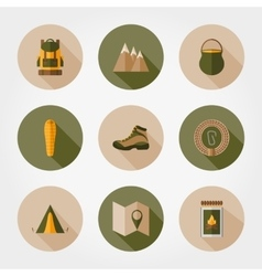 Hiking mountain icons vector image vector image