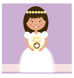 my first communion - girl vector image