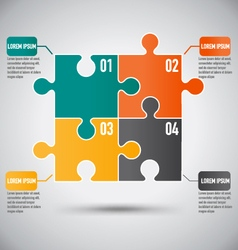 Square Puzzle Piece Infographics Template With vector image