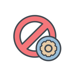 block cancel lock settings stop icon vector image