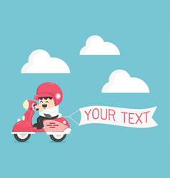 businessman on scooter have message board your vector image vector image
