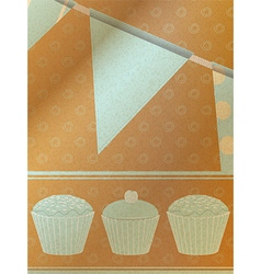 Cupcakes and bunting over brownpaper background vector image vector image