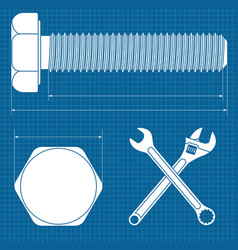 machine screw normal wrench and adjustable wrench vector image vector image