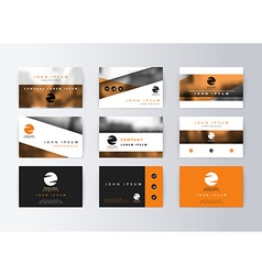 Set of business cards orange background Template vector image