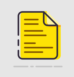 abstract flat yellow document icon vector image vector image