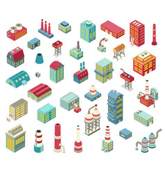 factory isometric objects set vector image