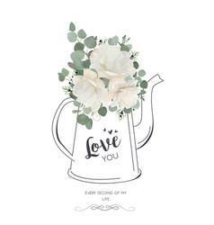 floral elegant card design white rose peony vector image