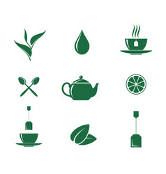 green tea icon set vector image vector image