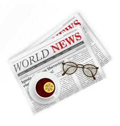 Newspaper coffee and sunglasses World news vector image