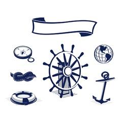 sea icons set blue vector image vector image
