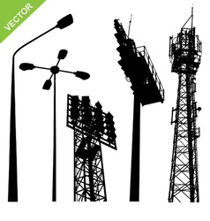 silhouette street lamp and sport light stadium vector image vector image