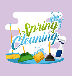 spring cleaning poster house work equipment vector image