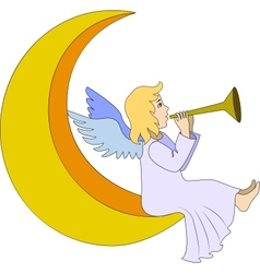 angel with flute vector image