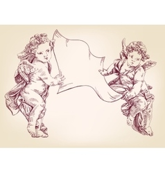 Angels or cupid are holding a blank sheet vector