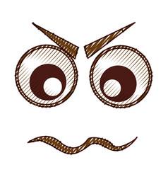 Angry emogy face kawaii character vector