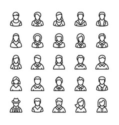 Avatars line icons 2 vector