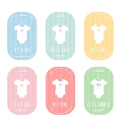 Baby Body Suits Clothes on Hangers Pastel Baby vector