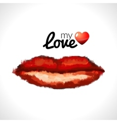 Beautiful woman lips formed by abstract blots vector image