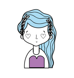beauty woman with hairstyle and heart eyes vector image