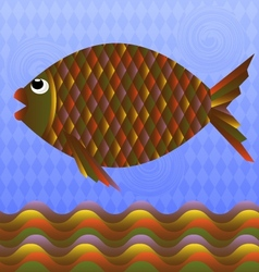 Big colorful fish vector
