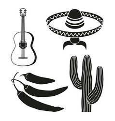 Black and white 4 mexican elements vector