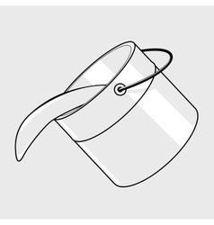 Black line bucket vector