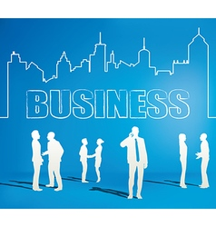 Business people team with city line vector image