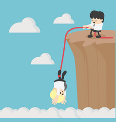 businessman help friend on the cliff vector image