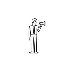 Businessman with megaphone hand drawn sketch icon vector