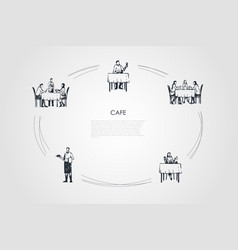cafe - people having dinner in restaurant vector image