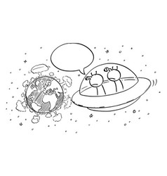Cartoon funny aliens in ufo or flying saucer vector