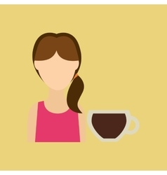 Character girl cup coffee cool straw icon graphic vector