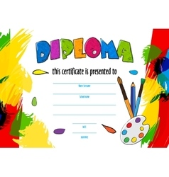 Childrens diploma for delivery on a vector