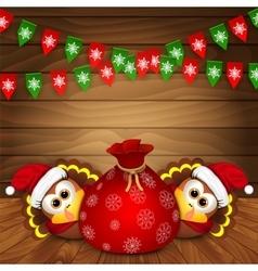 Christmas card with funny turkeys vector