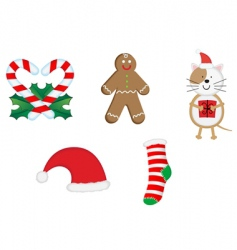 Christmas icons and symbols vector image