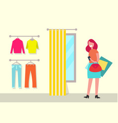 clothing shop and woman poster vector image