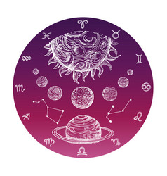 color hand drawn astrology concept with zodiac vector image
