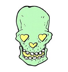 Comic cartoon skull with love heart eyes vector