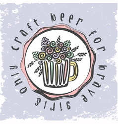 craft beer hand drawn leaflet vector image