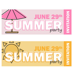creative modern flat design invitation on summer vector image