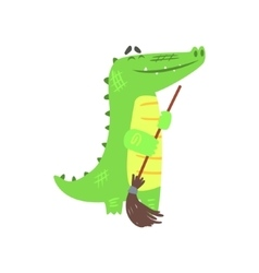 Crocodile Sweeping Floor With Broom Humanized vector image