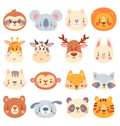 Cute animal faces color animal portraits vector
