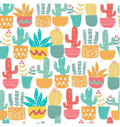 cute hand drawn doodle pastel cactus pattern vector image