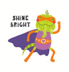 Cute iguana superhero vector